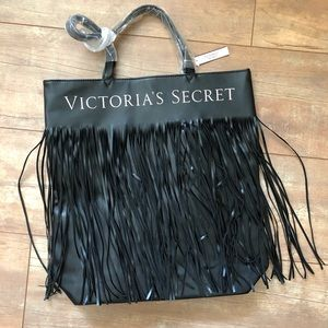 Victoria's Secret Black Fringe Bag Tote/NWT
